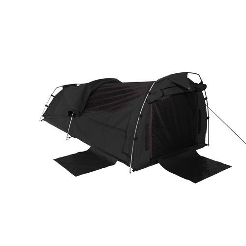 Sahara Nomad King Single Dome Canvas Swag with Bag - Black
